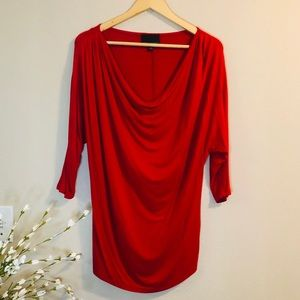 Red Ruched Dolman Sleeve Blouse by Cynthia Rowley